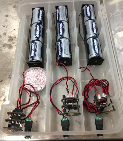 Three OWHL units powered by 3 D cell batteries, prepared to go into the freezer.