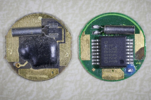 An old iButton on the left and a new iButton on the right.