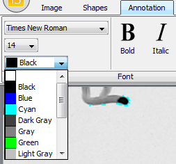 Use the drop-down menus to set the Font, size, and color of the annotation objects you'll place on your image.