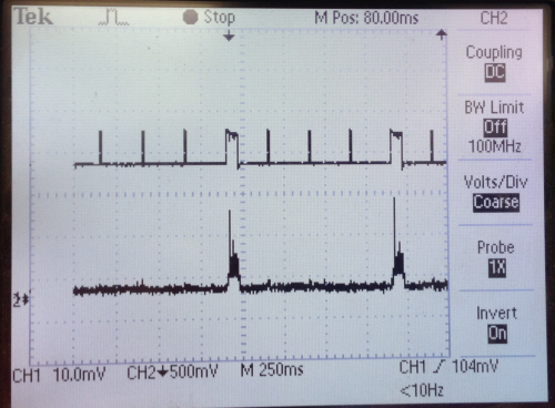 Oscilloscope trace using a 2014 SanDisk 32GB micro SD card.