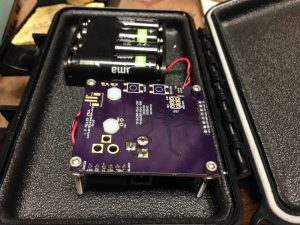 The camera and battery pack inside the housing. Here you can also see the extra footprints for buttons, indicator LEDs, and JST battery connector.